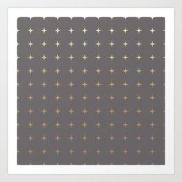 Slate Grey gold Stars Art Print