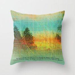 Serenity Prayer Colorful Trees Throw Pillow