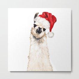 Christmas Llama Metal Print