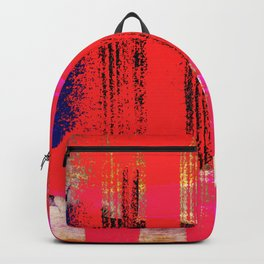 Red Pink and Blue Grunge Abstract Backpack