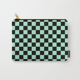 Black and Magic Mint Green Checkerboard Carry-All Pouch