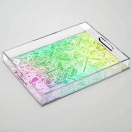 Bright Gradient (Violet Purple Lime Green Neon Yellow) Geometric Pattern Print Acrylic Tray