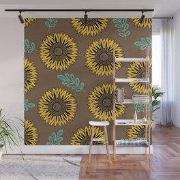 Sunflowers, Foral Pattern - Brown Wall Mural