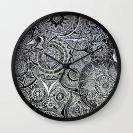 White Pen Mandala Collage Wall Clock