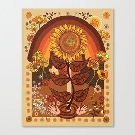 70s, Sunflower, retro, rainbow, warm colors, 60s, boho Canvas Print
