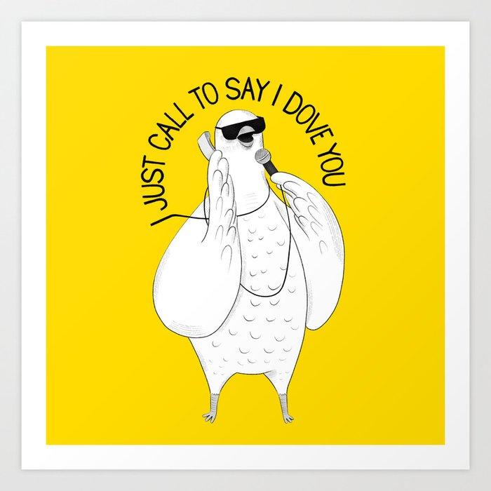 Dove singing Stevie Wonder   Animal Karaoke   Illustration Art Print