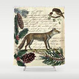 western country fairy rustic woodland nursery winter pine forest animal fox Shower Curtain