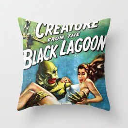 Creature from the Black Lagoon, vintage horror movie poster Throw Pillow