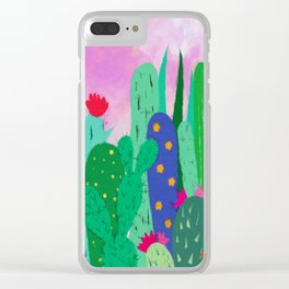 Painted cacti Clear iPhone Case