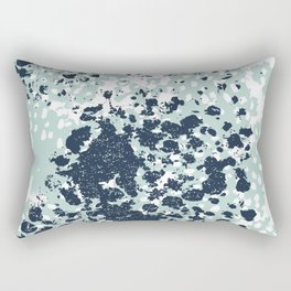 Textured mint and blue abstract painting dots pattern modern minimal art print Rectangular Pillow