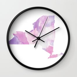 Watercolor State Map - New York NY purples Wall Clock