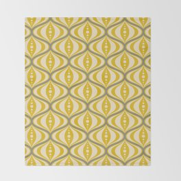Retro Mid-Century Saucer Pattern in Yellow, Gray, Cream Throw Blanket