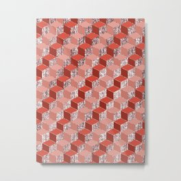 Red Pink And Rose Gold Geometric Cubes Metal Print