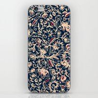 bedding iPhone & iPod Skins featuring Navy Garden - floral doodle pattern in cream, dark red & blue by micklyn