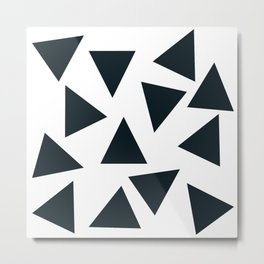Black pizza triangles on white Metal Print