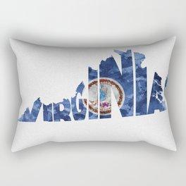Virginia Typographic Flag Map Art Rectangular Pillow