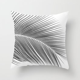 Palm leaf - bw Throw Pillow