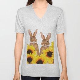 Two Rabbits Sunflower field Unisex V-Neck