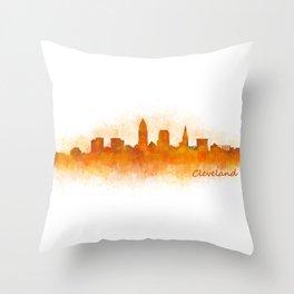 Cleveland City Skyline Hq V3 Throw Pillow