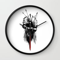 dark souls Wall Clocks featuring Dark Souls by Marcos Raya Delgado