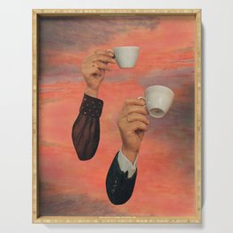 Coffee time / collage / moon water Serving Tray