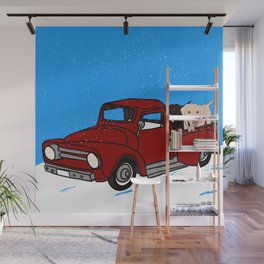 Best Labrador Buddies In Old Red Truck Wall Mural