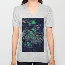 Dark Indigo Turquoise Abstract Design Unisex V-Neck