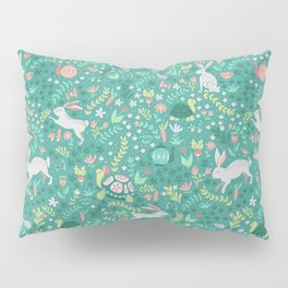 Spring Pattern of Bunnies with Turtles Pillow Sham
