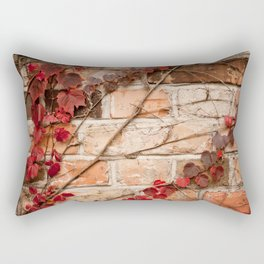 Red ivy leaves creeper on bricks wall Rectangular Pillow