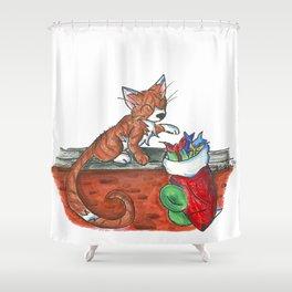Catnip Christmas Shower Curtain