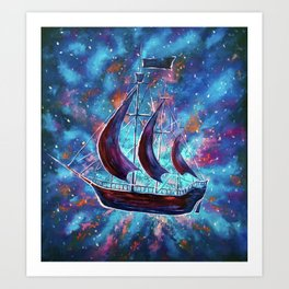 Original art for Sale Travel in space on an old sailing ship. Pirates, Peter. A ship Pan art Art Print