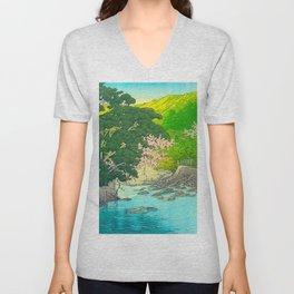 Vintage Japanese Woodblock Print Beautiful Water Creek Grey Rocks Green Trees Unisex V-Neck