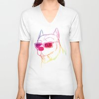 pitbull V-neck T-shirts featuring Rainbow Pitbull by Kristen Hodge