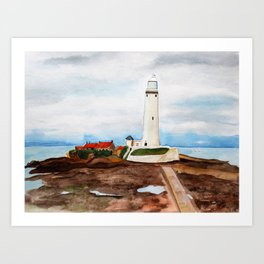St. Mary's Lighthouse Watercolor Painting Art Print