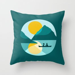 Canoe love in the fjord  Throw Pillow