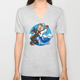A Merboy and his Sea Dog Unisex V-Neck