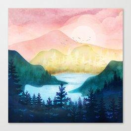 Lake beneath the towering hills Canvas Print