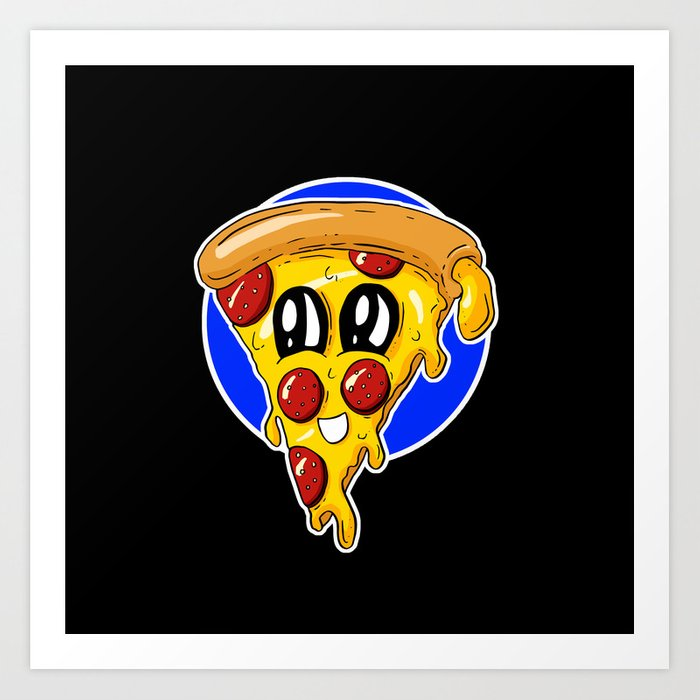 Fast Food - Pizza Slices Pepperoni Polly Cartoon Art Print