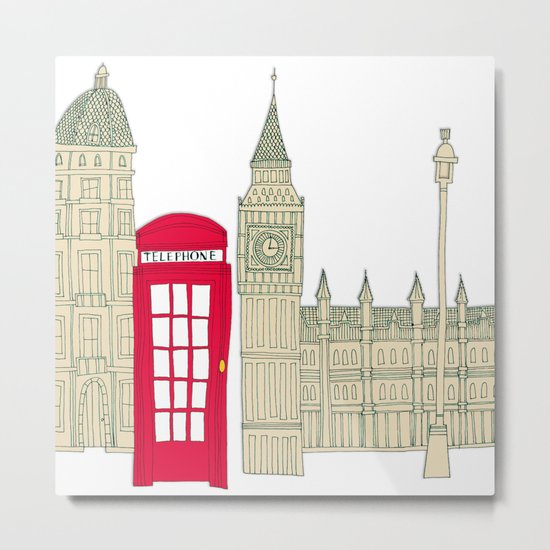 London red telephone box (cut out - red) Metal Print