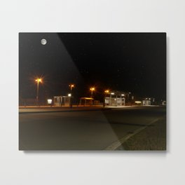 Train and Bus stop in Germany by night Metal Print