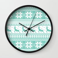 sweater Wall Clocks featuring Reindeer Sweater by Kelsey Bruxvoort