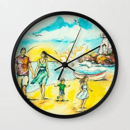 a Sunday stroll in the sea Wall Clock