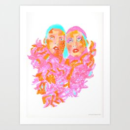 Pink Ladies blue hair pink boa gemini twins Art Print