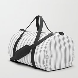 Mattress Ticking Narrow Striped Pattern in Charcoal Grey and White Duffle Bag