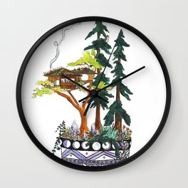 Forest Tree House - Woodland Potted Plant Wall Clock