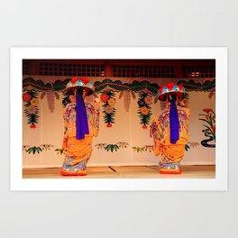 Traditional dancers in Okinawa Art Print