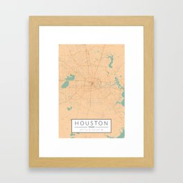 Houston Map - Color Framed Art Print