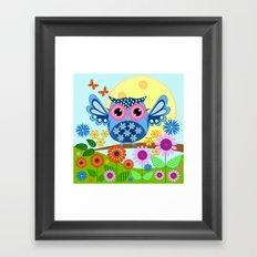 Spring owl in a Flower garden Framed Art Print