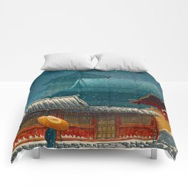 Vintage Japanese Woodblock Print Japanese Red Shinto Shrine Pagoda Winter Snow Comforters