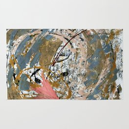 Symphony [2]: colorful abstract piece in gray, brown, pink, black and white Rug